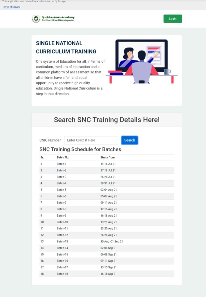SNC Training Schedule 2021 For All Batches